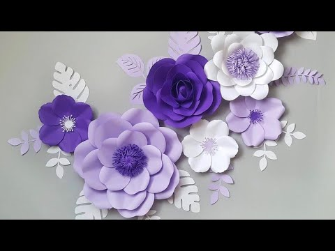 DIY Paper Flower Step by Step | DiY Room Decor Wall Art | Giant Paper Flowers Back Drop 2018