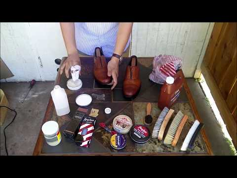 Allen Edmonds Walnut Strand Shoe How to Fully Strip, Condition, and Polish men shoes ASMR