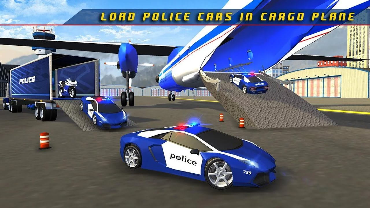 Police Plane Transporter Game - Simulation Car Games - Videos Games for Kids Android