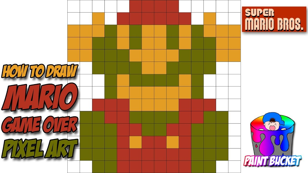 How to Draw Mario (Game Over) Losing a Life Pixel Art Sprite - Super Mario  Bros Drawing Tutorial