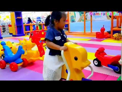 naik odong odong jungkat jungkit bentuk hewan lucu & mandi bola di mario land kids fun station play