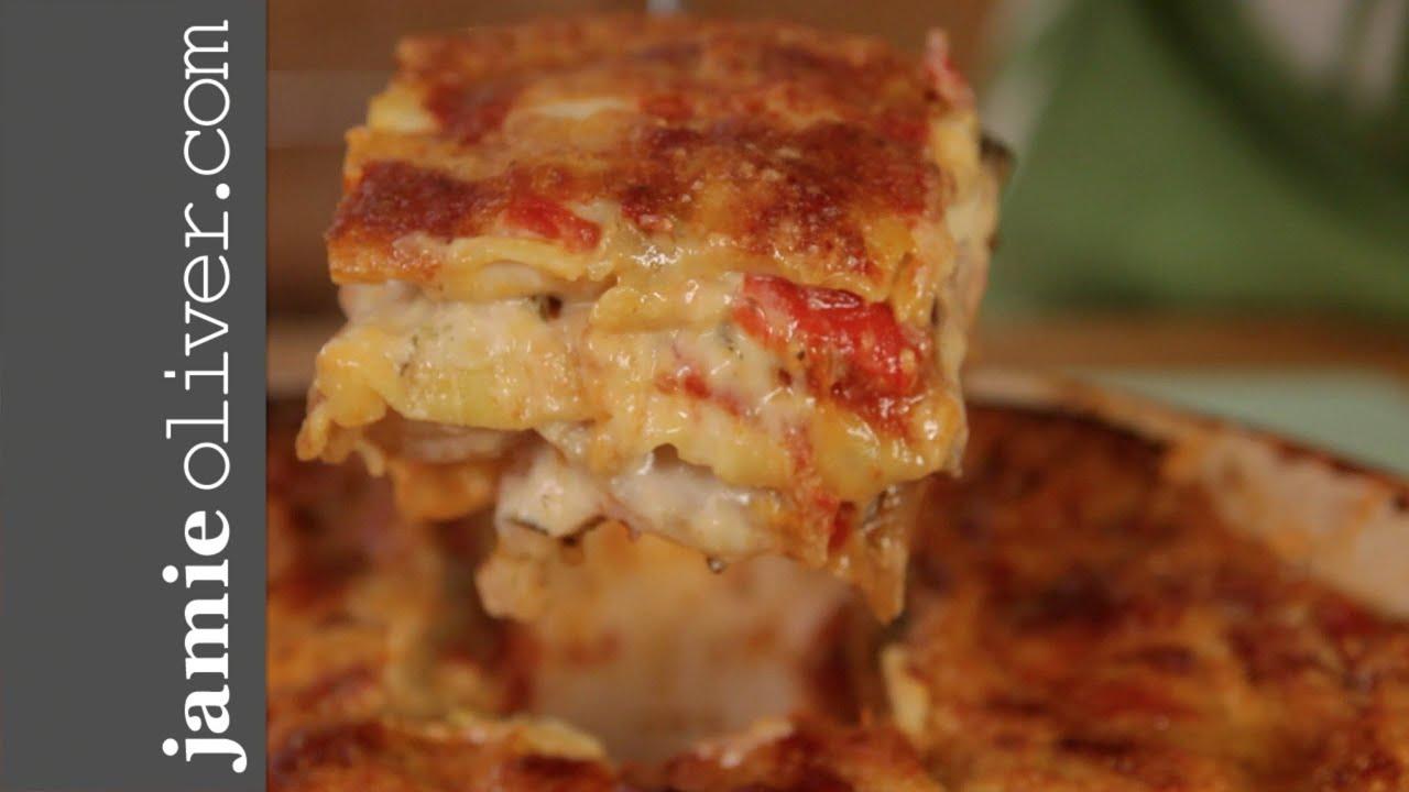 Jamie S Mate Pete Cooks Roast Vegetable Lasagne Youtube