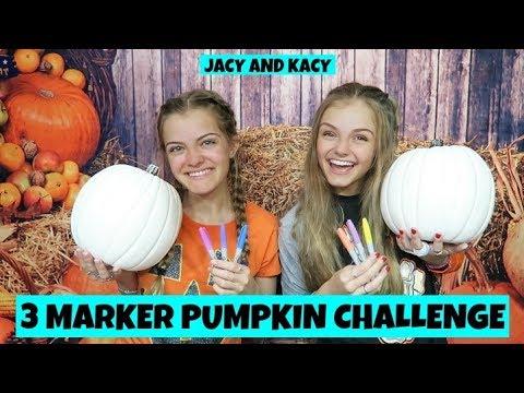 3 Marker Pumpkin Challenge ~ Fun DIY Pumpkins ~ Jacy and Kacy