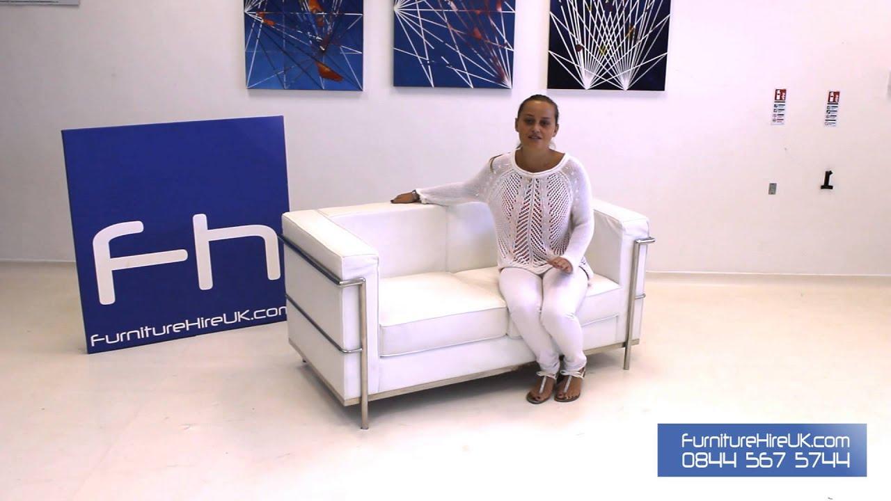 2 Seater White Corbusier Sofa Demo - Furniture Hire UK