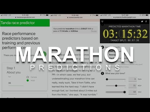Marathon Predictions Tanda vs. Runners World vs. Five Thirty Eight