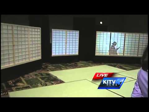 Ashley Moser shows off the projection mapping room at the Honolulu Festival