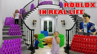 Giant Roblox Game in Real Life! 2000 Plastic Cups Obstacle Course in Our House!