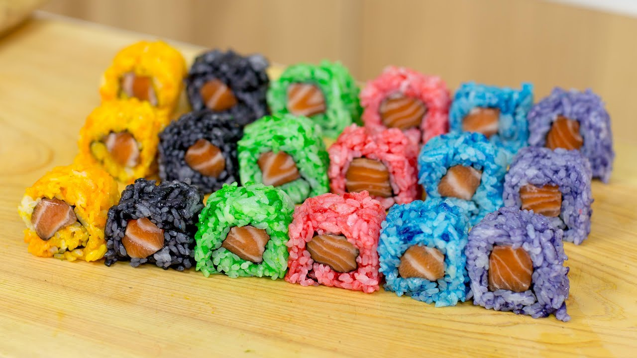 Rainbow Colored Sushi Rice - Sushi Cooking Ideas #1 - YouTube