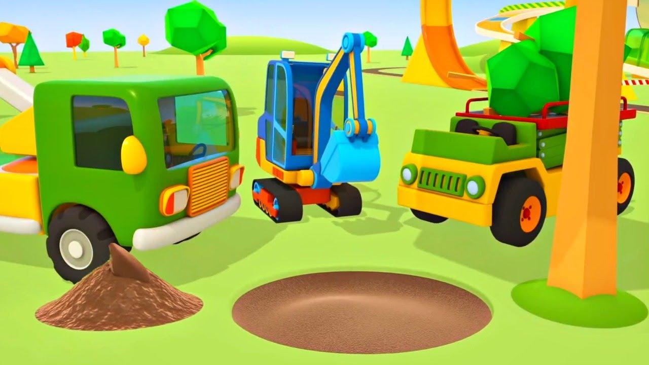 Os veículos de serviço podam a árvore na estrada! Desenhos animados e histórias para crianças