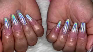How To Do Holographic Nails | Coffin Holographic Nails