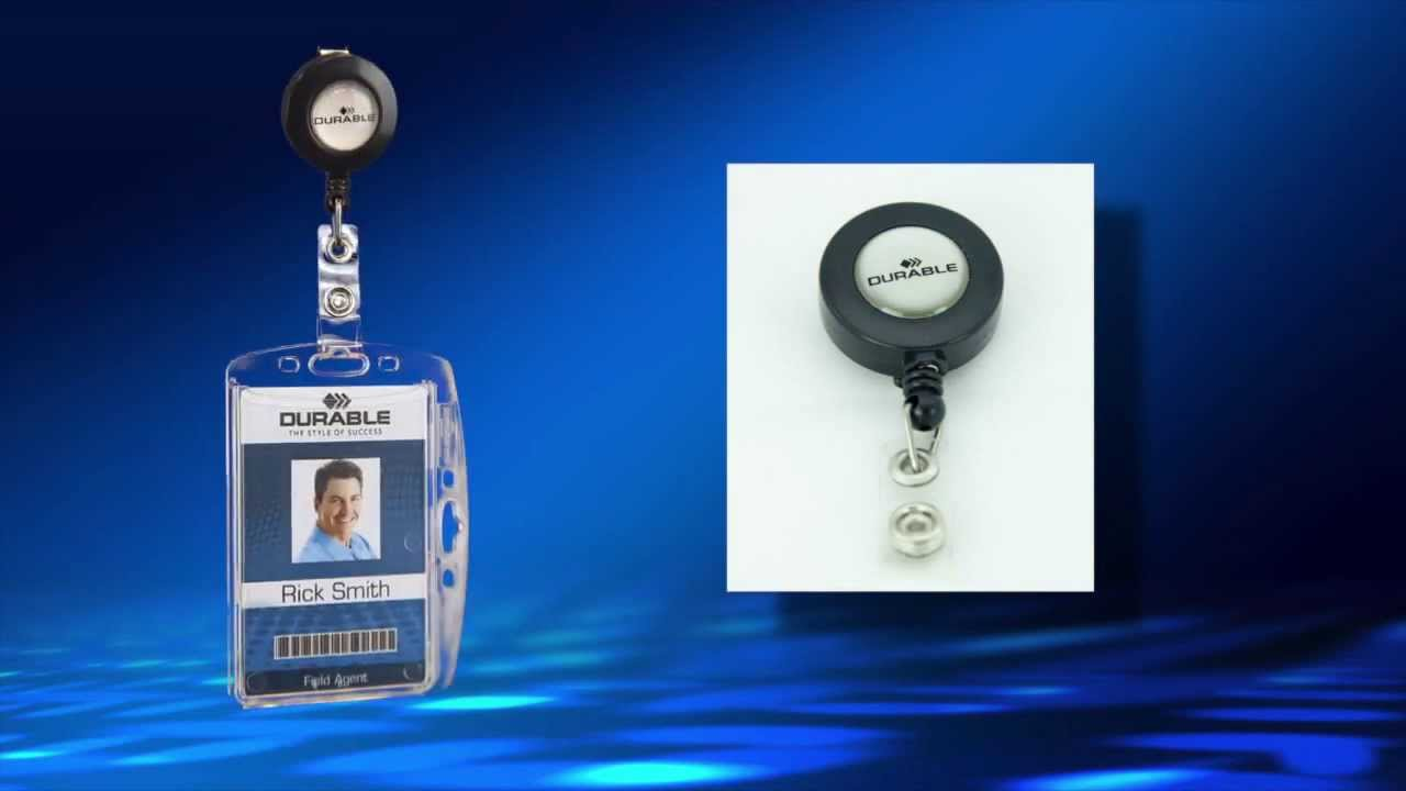 Security Card Id Name Badge Holder With Retractable Reel