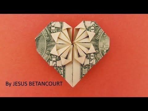 Dollar Origami  Heart, '' TUTORIAL ''
