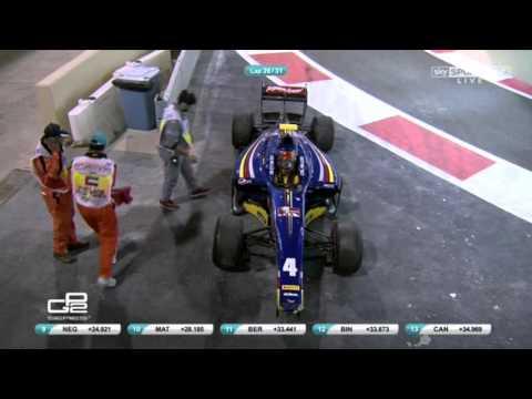 GP2 2015. Abu Dhabi. Gelael has crashed on the pit exit