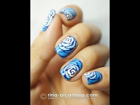 Winter Manicure The Best Ideas Of The Fashion Design Nails 2017 Winter Roses On The Nails Youtube