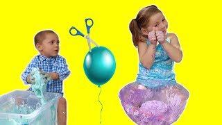 Making Slime With Balloons Sis vs Bro