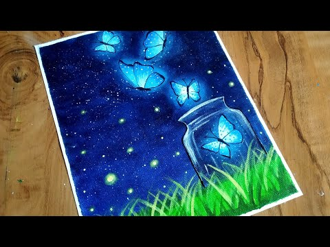 Easy Butterfly Night Scenery Drawing & Painting Tutorial For Beginners/ How To Paint Butterfly