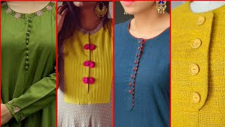 Latest Most Creative & Trendy Neck Designs with buttons For Casual wear Dresses | Neckline Designs