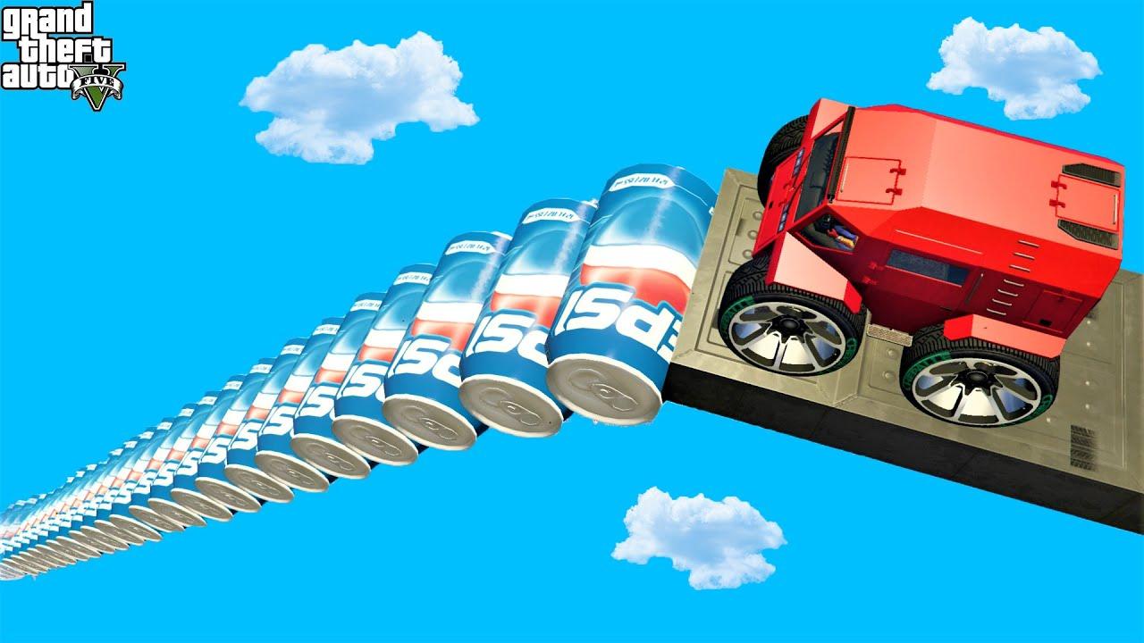 قفزة المدرعة من منحدر بيبسي 🐸 GTA 5 - Zhaba Truck Jump Over Pepsi Ramp