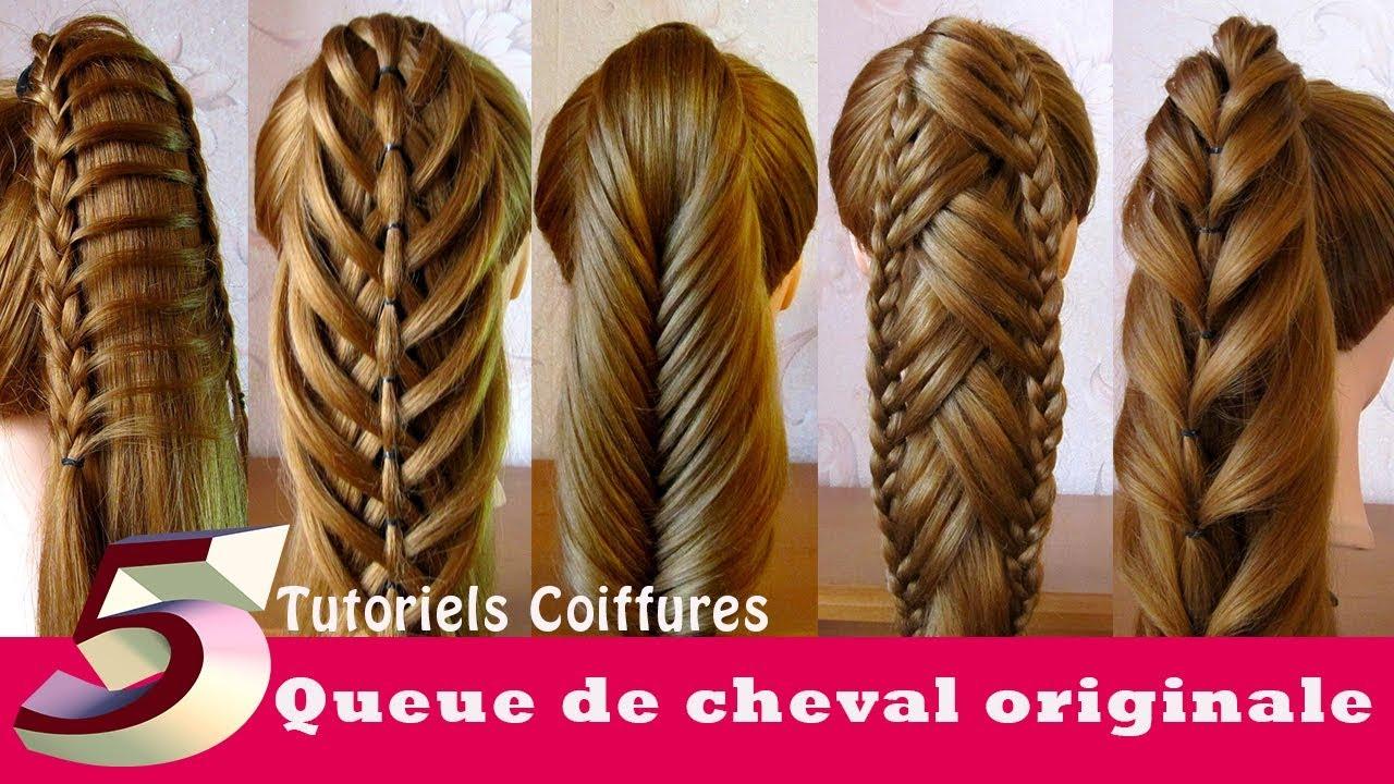 tutoriels coiffures queue de cheval originale 5 id es ponytail hairstyles youtube. Black Bedroom Furniture Sets. Home Design Ideas