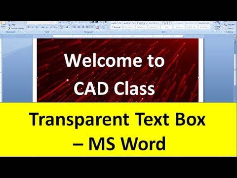 Transparent Text Box - MS Word