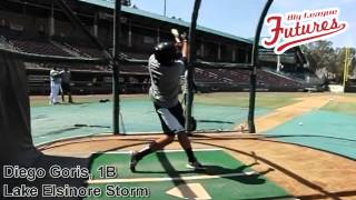 Diego Goris, 1B, San Diego Padres, Swing Mechanics at 200 fps