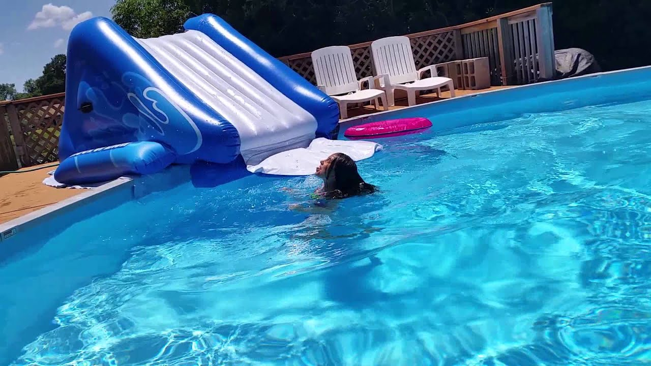 Inflatable Pool Slide Intex intex kool splash water slide - youtube
