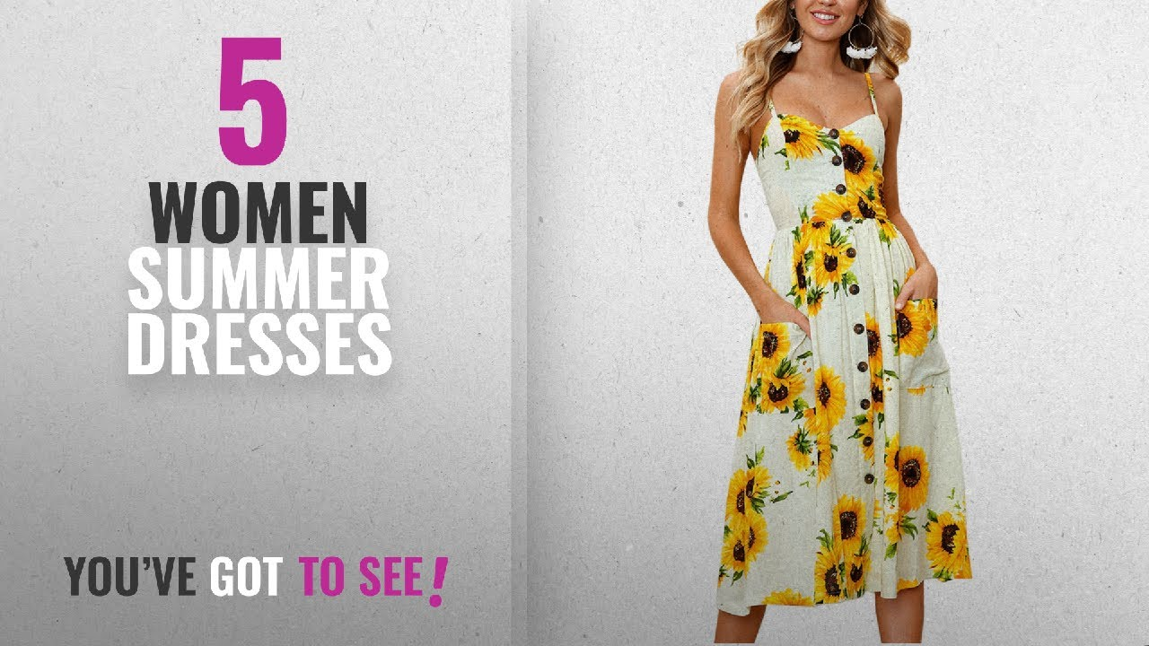 264de9dbfbd9 Top 10 Women Summer Dresses [2018]: Angashion Women's Dresses-Summer Floral  Bohemian Spaghetti Strap