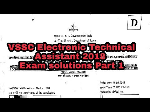 VSSC Electronic Technical Assistant 2018 Exam solutions Part 1