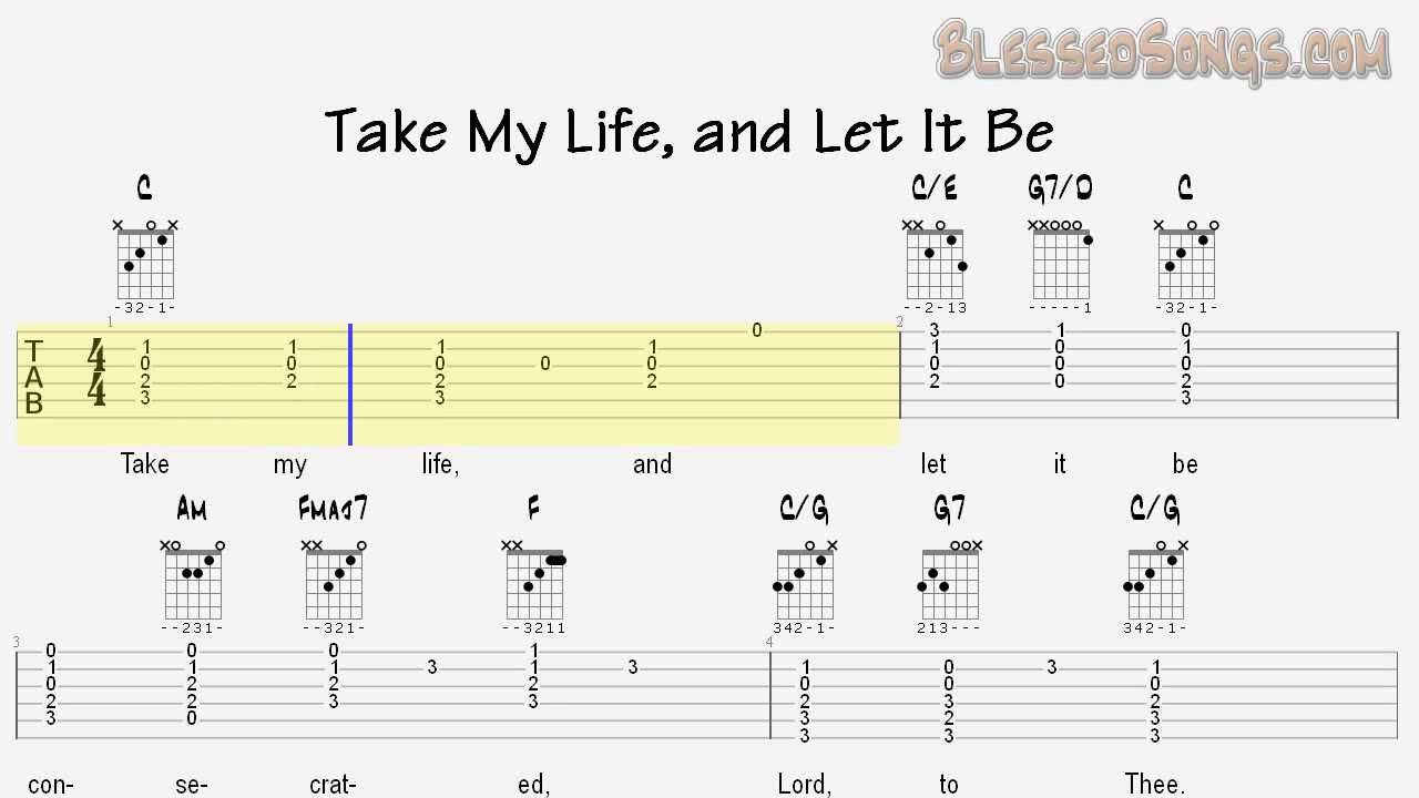 Learn Hymns On Guitar Take My Life And Let It Be Tablature And