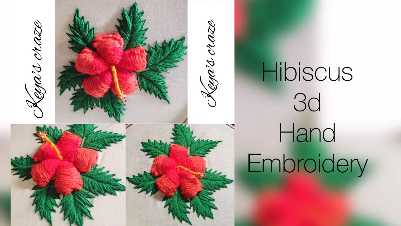 Hand Embroidery Flower Design Hibiscus Flower Hand Embroidery