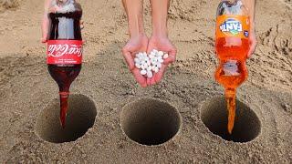 Experiment !! Coca cola, Pepsi, Fanta, 7 ups, baking soda and Mentos underground
