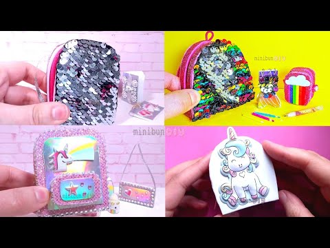 DIY Miniature Backpack Compilation - Rainbow, Unicorn, Sequin Backpack and more!