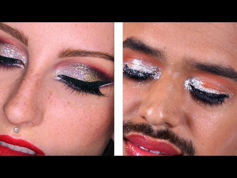 Thumbnail: Guys Try Holiday Glam Makeup Tutorials