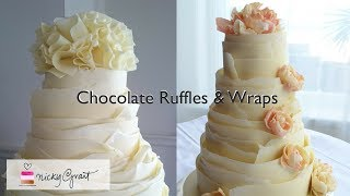 Decorating a cake in pure chocolate ruffles and wraps