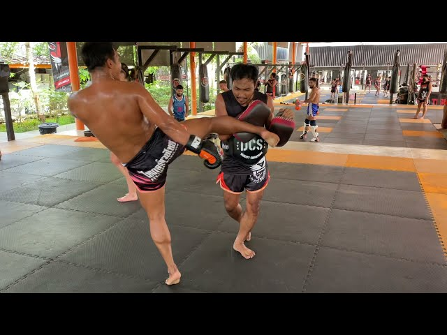 Saksurin blasting the pads at Tiger Muay Thai