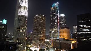 Night Downtown Los Angeles in 4K. 1Hr of Relaxing Piano Music
