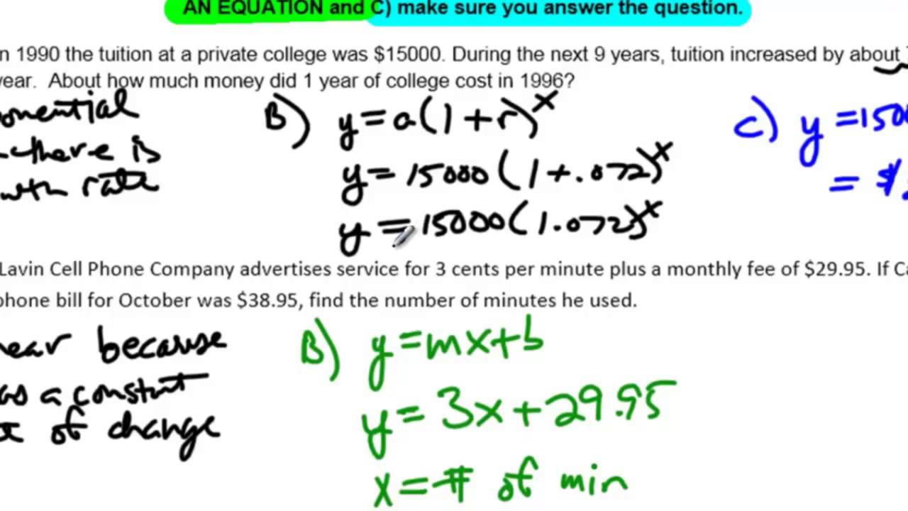 Unit 10 Lesson 7 No example 4 Linear Quadratic and Exponential – Function Word Problems Worksheet