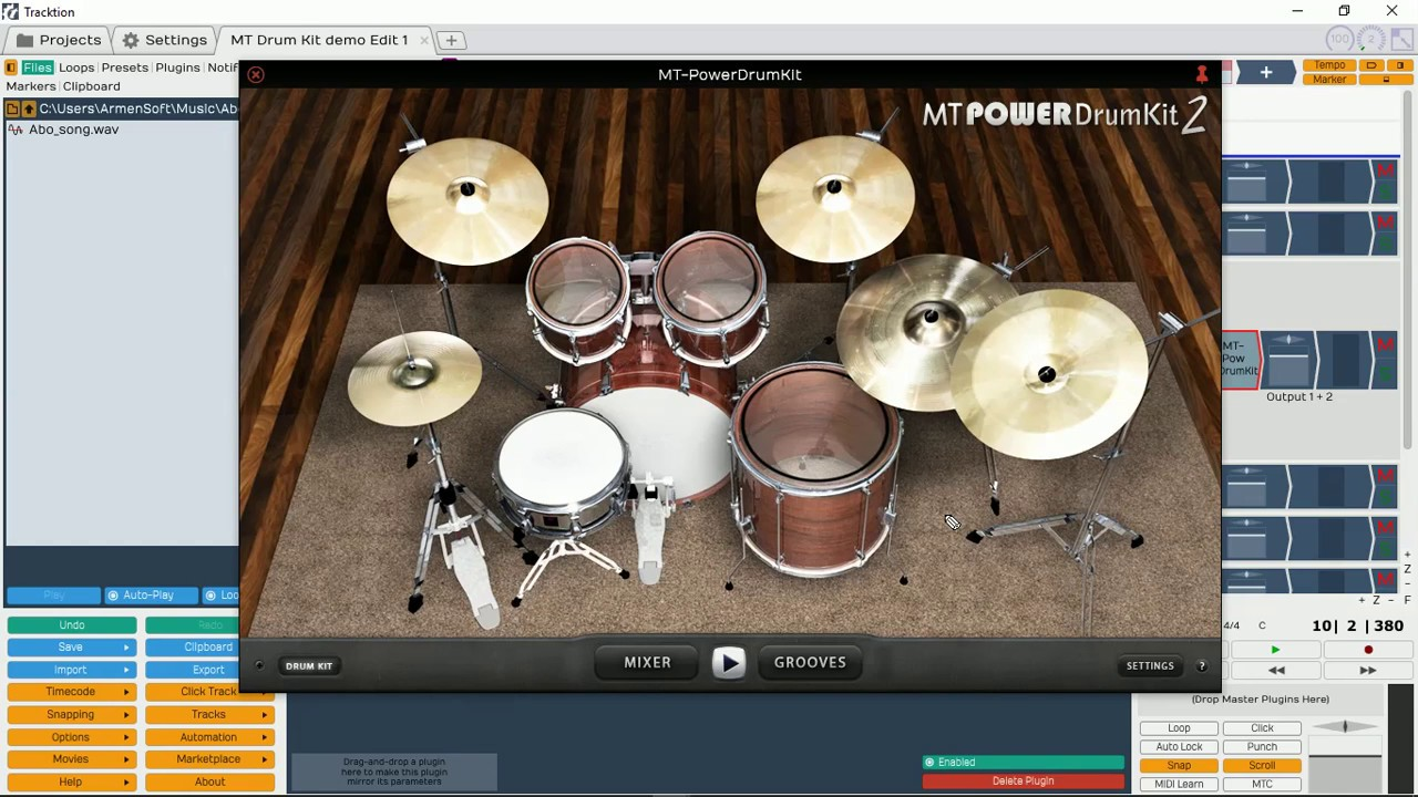 MT Power Drum Kit 2 Intro using Tracktion T5 Free DAW