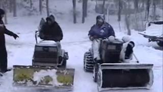 Tractor plowing Snow lawn mower movie