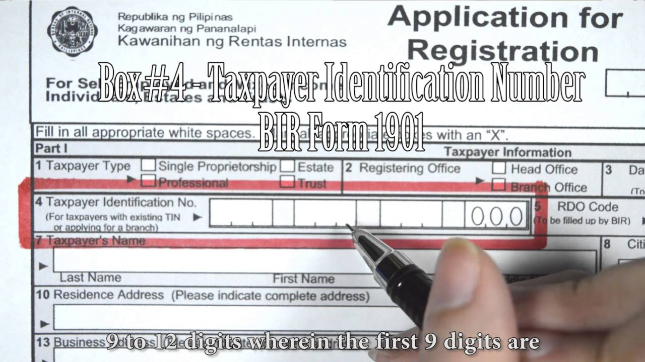 Box#4 - Taxpayer Identification Number, BIR Form 1901 - YouTube