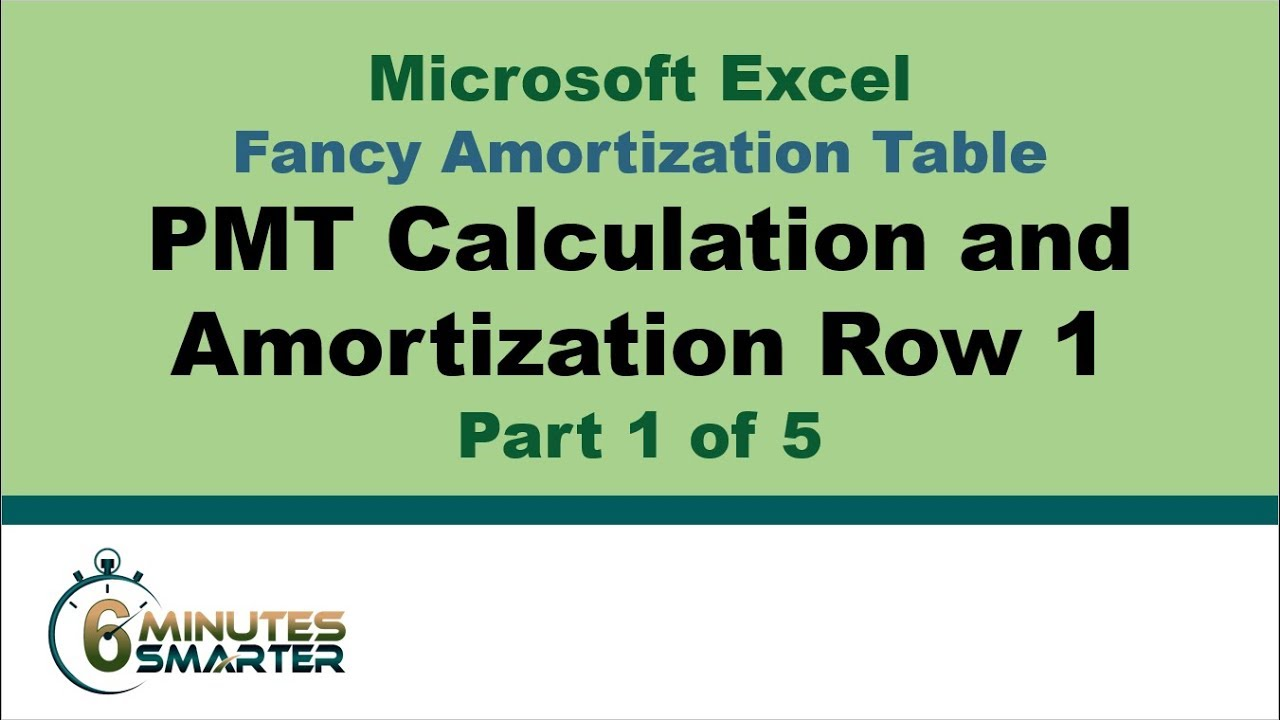 amortization table in excel part 1 of 5 pmt calculation and