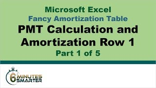 Amortization Table in Excel (Part 1 of 5) - PMT Calculation and Amortization Row 1