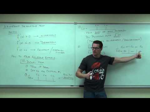 Calculus 1 Lecture 3.3:  The First Derivative Test for Increasing and Decreasing