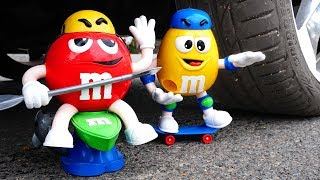 Crushing Crunchy & Soft Things by Car! - EXPERIMENT: M&M'S TOYS VS CAR VS FOOD
