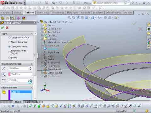 Creating A Sheet Metal Helix Spring In Solidworks 2011