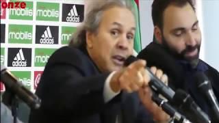 رابح مادجر مدرب الجزائر ينتفض ويصف أحد الصحفين بعدو الجزائر