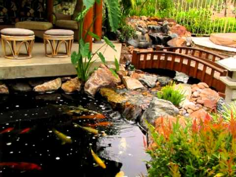 traditional japanese koi pond and stream landscape by san ForKoi Pond Japan
