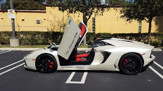 Lamborghini Aventador LP 700 4 Roadster Start Up Drive Roof Removal Loud Bull at Lamborghi Miami