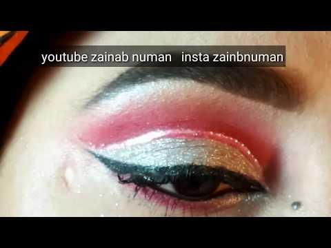 pink silver eye makeup//makeup for begginers in urdu hindi_zainabnuman