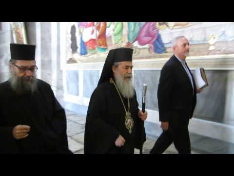 Patriarch of the Orthodox Church in Jerusalem Theophilos III in the Church of the Holy Sepulchre